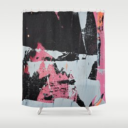 Profoundly [1]: a vibrant abstract piece in blues magenta and orange by Alyssa Hamilton Art Shower Curtain