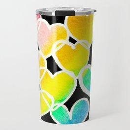 rainbow hearts in black and white Travel Mug