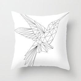 Geometric Hummingbird - Polygon Art Throw Pillow