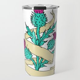 Scottish Thistle With Ribbon Color Drawing Travel Mug