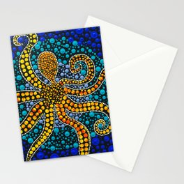 Octopus dot painting Stationery Cards