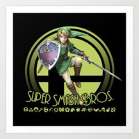 super smash bros Art Prints featuring Link - Super Smash Bros. by Donkey Inferno