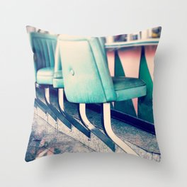 Retro Diner Photograph, kitchen art, restaurant decor, shabby chic, vintage, pastels, mint and pink Throw Pillow