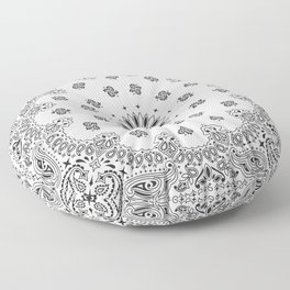 Bandana - White - Paisley - Southwestern Floor Pillow