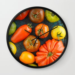 Various heirloom tomatoes Wall Clock