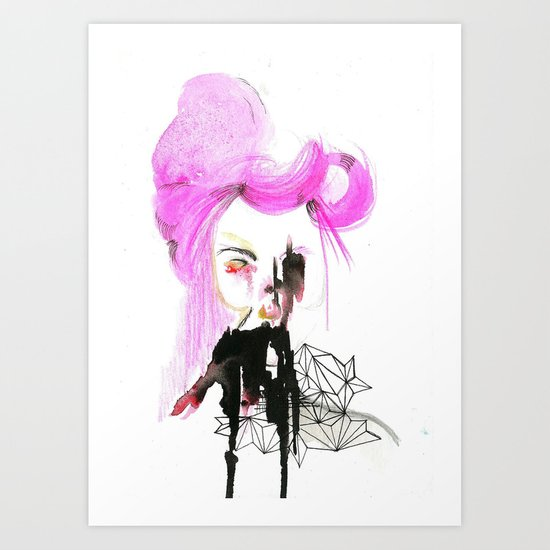 pink hair, don't care Art Print