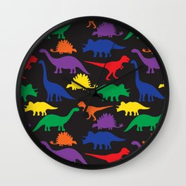 Dinosaurs - Black Wall Clock