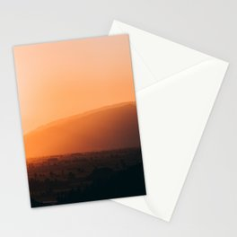Sepia Orange Sunset Mountain Hills Landscape Photo Stationery Cards