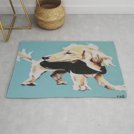 Portrait of Blonde Long Haired Miniature Dachshund on Blue Rug