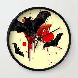 DECORATIVE FLYING BLACK BATS & HALLOWEEN BLOODY ART Wall Clock