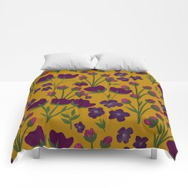 Purple and Gold Floral Seamless Illustration Comforters