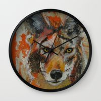 coyote Wall Clocks featuring Coyote by Ali Kirby