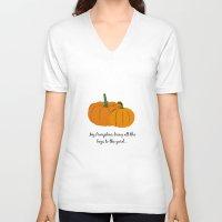 pumpkin V-neck T-shirts featuring Pumpkin by Laura Maria Designs