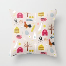 Vintage Farmyard Throw Pillow