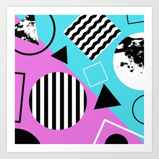 Stripes And Splats 1 - Wacky, Random, Abstract, Black And White Stripes, Blue and pink Artwork Art Print