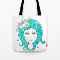 polkadot Tote Bags featuring Polkadot Girl by Lisa Bulpin