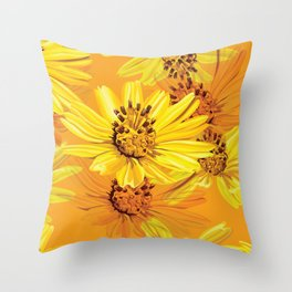Watercolor Yellow Daisies Throw Pillow