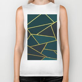 The Color of Teal And Gold Biker Tank