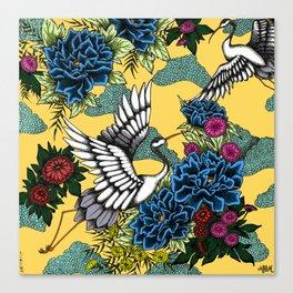 Cranes (Blue) Canvas Print