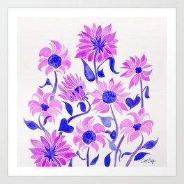 Sunflower Watercolor – Indigo Palette Art Print
