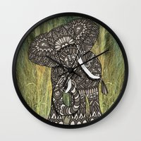 ornate elephant Wall Clocks featuring Ornate Elephant by ArtLovePassion