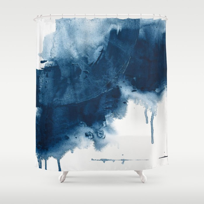 Where does the dance begin? A minimal abstract acrylic painting in blue and white by Alyssa Hamilton Shower Curtain