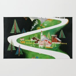 Switzerland - Vintage French Travel Poster Rug