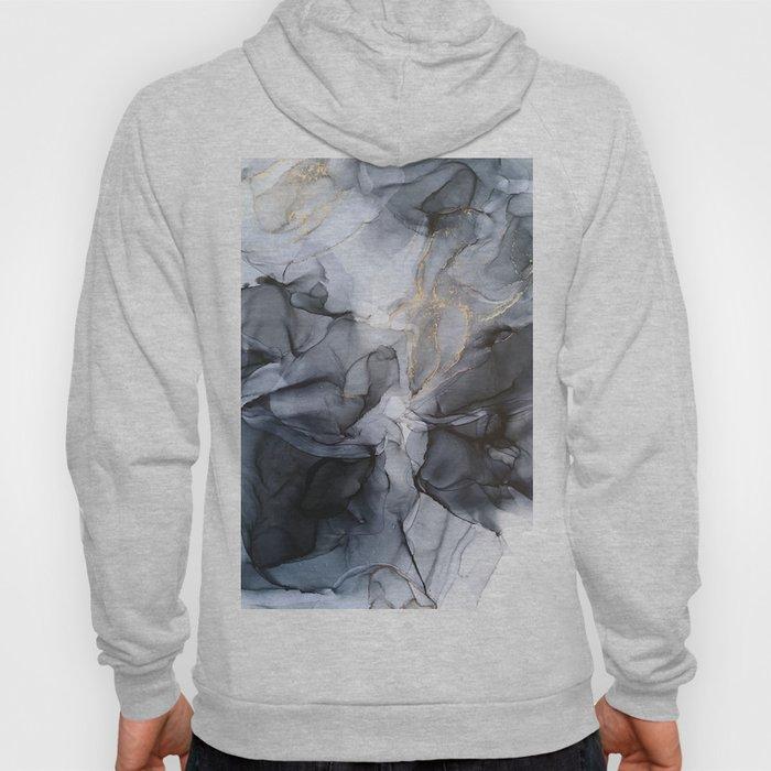 Calm but Dramatic Light Monochromatic Black & Grey Abstract Hoody