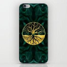 Golden Tree of Life on Malachite iPhone Skin