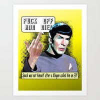 spock Art Prints featuring Spock.... by PsychoBudgie
