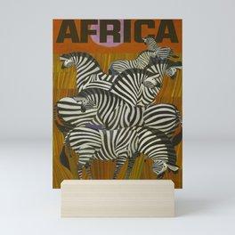 Africa Zebra Savannah Vintage Travel Poster Mini Art Print