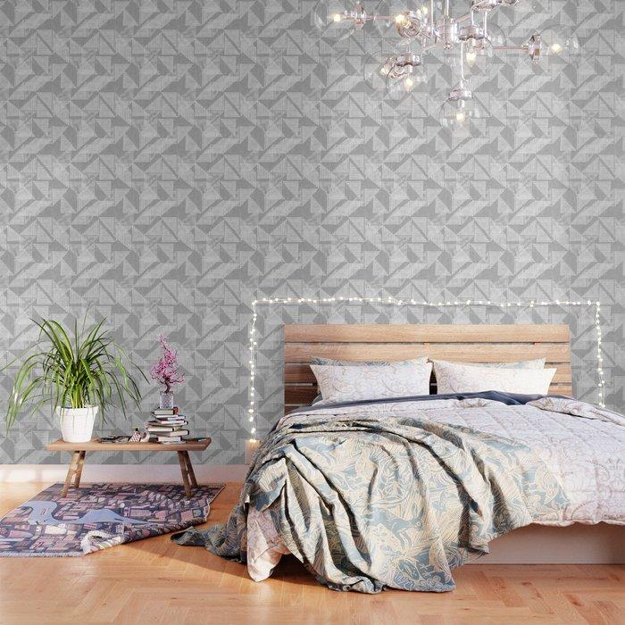 Stripe Triangle Geometric Block Print in Grey Wallpaper