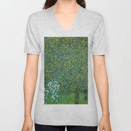 Gustav Klimt Rosebushes Under The Trees Unisex V-Neck