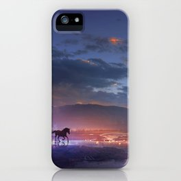 Fascinating Wild Fairytale Horses Running Across Mystic Fire River Dreamy Sunset UHD iPhone Case