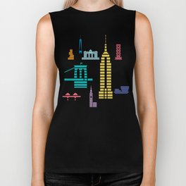 New York Skyline Empire State Poster Black Biker Tank