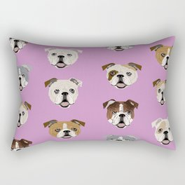English Bulldog faces cute dog art pet portrait must have gifts for english bulldog owners Rectangular Pillow