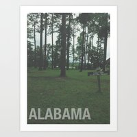 alabama Art Prints featuring ALABAMA by Danielle B