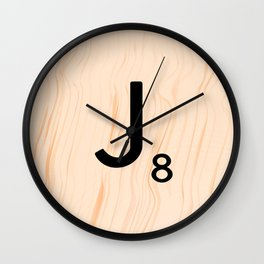 Scrabble Letter J - Large Scrabble Tiles Wall Clock