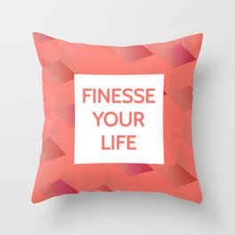 Finesse Your Life - Living Coral Typography Throw Pillow