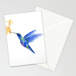 WATERCOLOR HUMMINGBIRD AND FLOWERS Stationery Cards