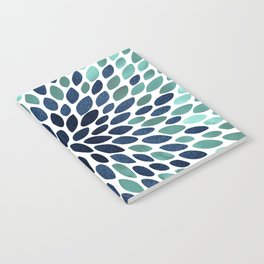 Flower Bloom, Aqua and Navy Notebook