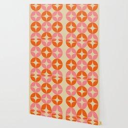 Mid Century Modern Pattern in Pink and Orange Wallpaper