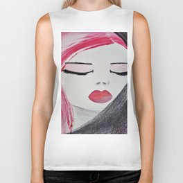 Shy Girl. Abstract Pink Girl. Pink Lips. Pink Hair. Jodilynpaintings. Eyelashes. Gift for All Girls. Biker Tank