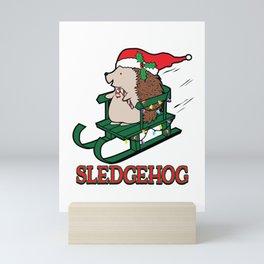 Sledgehog Christmas Cute Hedgehog Sled Holiday  graphic Mini Art Print