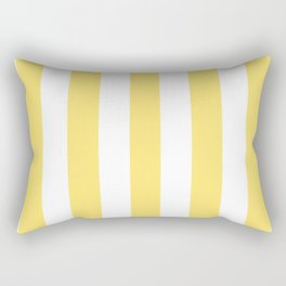 Shandy yellow - solid color - white vertical lines pattern Rectangular Pillow