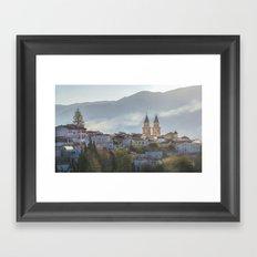 Twin spires of Orgiva town church Framed Art Print