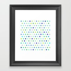 Polka Dots - Blue & Green Framed Art Print