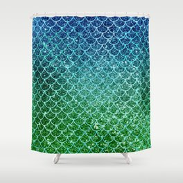 Mermaid Blue & Green Glitter Ombre Scales Shower Curtain