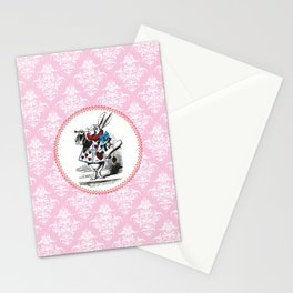 Alice in Wonderland | The Herald of the Court of Hearts | White Rabbit | Pink Damask Pattern | Stationery Cards