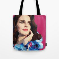 ultraviolence Tote Bags featuring Del rey by Jesus Servin